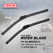 "Wiper Blade for Mazda 6 (2007-2012) 1set 24""+16"", Flat Aero Beam Windscreen Wiper Blade Frameless Soft Wiper Blades"