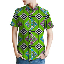 Bright coloured print mens dashiki shirts custom african fashion shirt men short sleeve lapel shirt of africa clothing