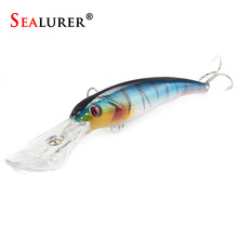 SEALURER Fishing Lure Big Float Minnow Artificial Plastic Deep Diver Hard Lures 3D Eyes Crankbait with 2 Treble Hooks