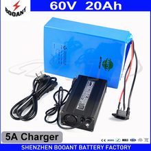 Lithium Rechargeable Battery 60V 20Ah Electric Bike Battery 60V For 2000W Motor With 5A Charger Built-in 50A BMS Free Shipping(China)