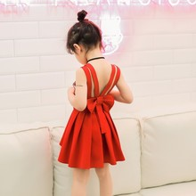 Girls sun dresses 2017 summer New children cute v-neck vest dress girl Backless Bow Princess skirt children evening dresses