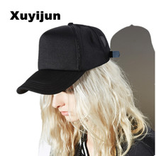 SnapBack and summer tide net hat Korean style car baseball cap ladies breathable pure black tongue cap High end hat