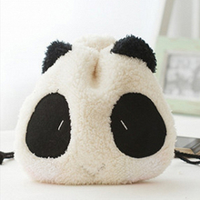 Cute Design Fluffy Panda Coin Purse Pouch Wallet Makeup Cosmetic Drawstring Bag(China)