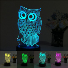 USB Creative Owl 3D Night Light Lighting Change LED Table Desk Lamp Xmas Fashion Veilleuse(China)