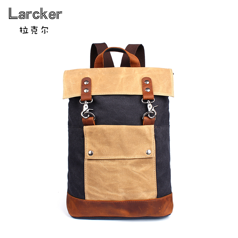 Classic solid cowhide Satchel multis colors patchwork canvas men backpack young freestyle utility travel bag waterproof backpack<br>