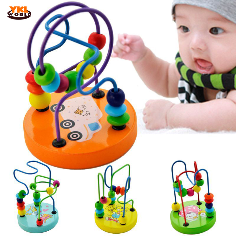 YKLworld Colorful Roller Coaster Wooden Beads Baby Toy Comfortable Polished Smooth Beads Move Round Line Activity Cube Toy -48