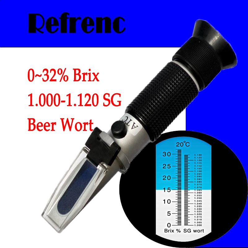 Beer Brewing Refractometer (0-32%Brix,1.000 -1.120 Wort Specific Gravity),popular instrument with many homebrewers<br>