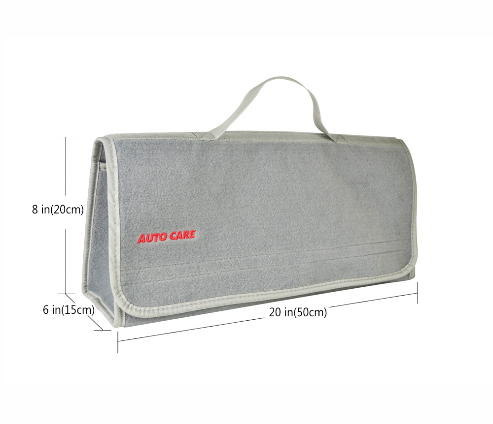 Auto Care Large Car Smart Tool Bag Grey Trunk Storage Organizer Bag Built in strong Velcrofix system holds to car carpet 4