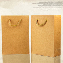 13*15+8cm Brown Kraft Paper Tote Bag Shopping Bag With Handle Recyclable Party Gift Pack Bag Pouch Retail Packaging For Boutique