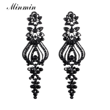 Minmin Vintage Crystal Chandelier Long Earrings Black Color Rhinestone Big Dangle Earrings for Women Fashion Jewelry Gift MEH997(China)