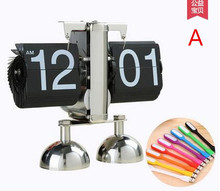 Creative auto flip clock, restore ancient ways the sitting room page table clock, mechanical character table clock clock.