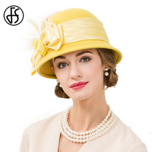 FS Women Fall Winter Hat Yellow 100% Wool Vintage Fedoras Hats For Ladies Bow Design Bowler Floppy Chapeu Feminino Fedora(China)