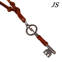 JS Charm Antique Silver Key Pendant Vintage Genuine Brown Leather Necklace Men Colar Punk Retro Jewelry Accessories LN041