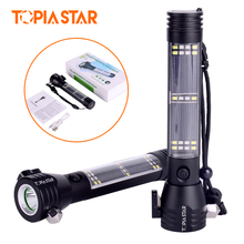 TOPIA STOR  Rechargeable Multifunction Emergency Portable Torch Lights Led Solar Flashlight With Safety Hammer Compass Magnet