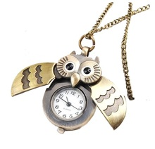 OWL POCKET WATCH Open Case Women necklace watch Vintage Jewelry Fashion Style Colors