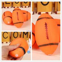 Dog Squeaky Toy For Pet Dog Chew Toy Small Rubber Squeaky Rugby Ball Orange