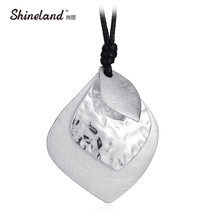 Shineland Simple Leaves Necklace Black Rope Chain Wire Drawing Silver Charm Womens Fashion Punk Statement Jewelry Colar 2017(China)