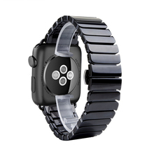 Fashion ceramic with adapter band for Apple watch 42mm 38mm link bracelet strap for iWatch Series 2 / 3 bands Black White(China)