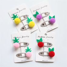 Buy 1Pair Fashion BB Hairpins Fruit Pineapple Hair Clip Children Cute Chuzzle Hair Accessories Princess Girls Candy Color Hairclips for $1.50 in AliExpress store