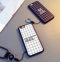Fashion Luxury Simple Grid Case For Iphone SE 5 5S 6 6S plus Black And White Square Back soft Cover with Mobile Phone Straps