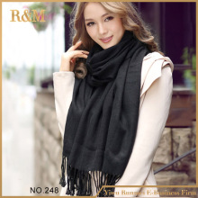 [RUNMEIFA] Brand Cashmere Design long Scarf Plain black Fashion Warm in Winter spring autumn Shawl For Women pashmina shawl(China)