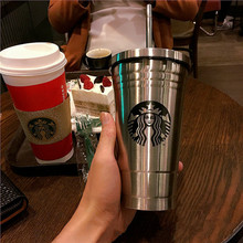 1Pc 500ML Creative Silver Color Starbucks Stainless Steel Suction Cup Insulation Cup Portable Coffee Cup Mug with Lid Party Gift