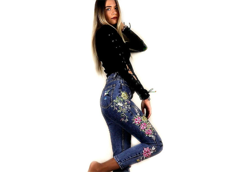2018 Women's Three-dimensional 3D Heavy Bird Flower Embroidery High waist Slim Straight jeans Large yards (4)