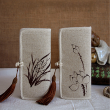 Floral Hand Painted Chinese Style Women Cotton Linen Wallet ink Hand Painted Long Purse Joker Vintage Temperament Long Wallet