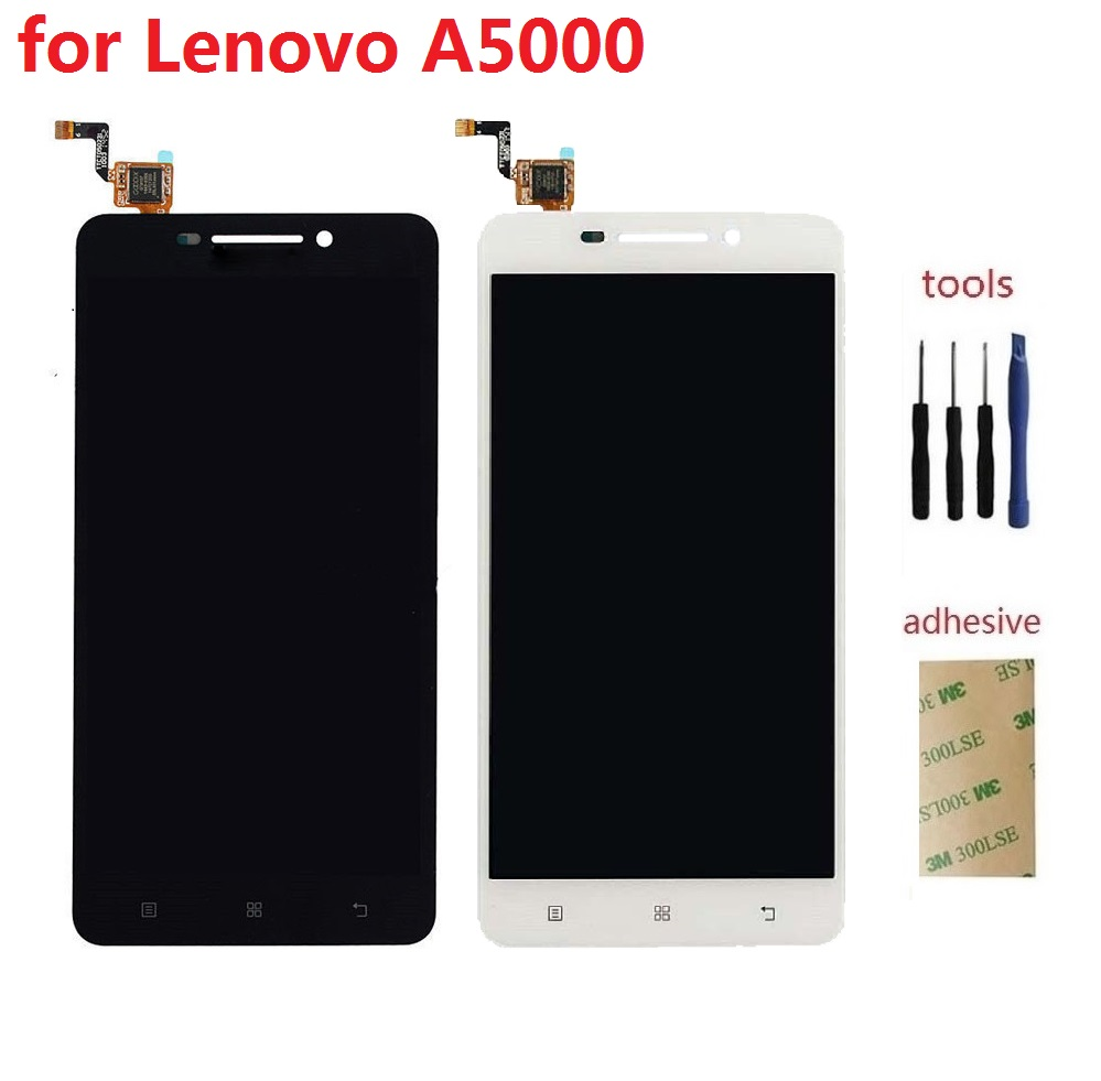 For Lenovo A5000 5.0 LCD Display+Touch Screen Digitizer Sensor Panel Assembly Part+Kits+Adhesive<br><br>Aliexpress