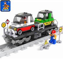 Model building kits compatible with lego city Rail train 186 pcs 3D blocks Educational model building toys hobbies for children