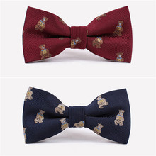 NEW Best Selling men's cartoon bowtie lovely bear good quality used in wedding and party Wine Red Blue Bowtie for men(China)