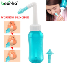 Beurha Adults Children Nasal Wash Cleaner Nose Protector Cleans Moistens Child Adult Avoid Allergic Rhinitis Neti Pot 300ML(China)