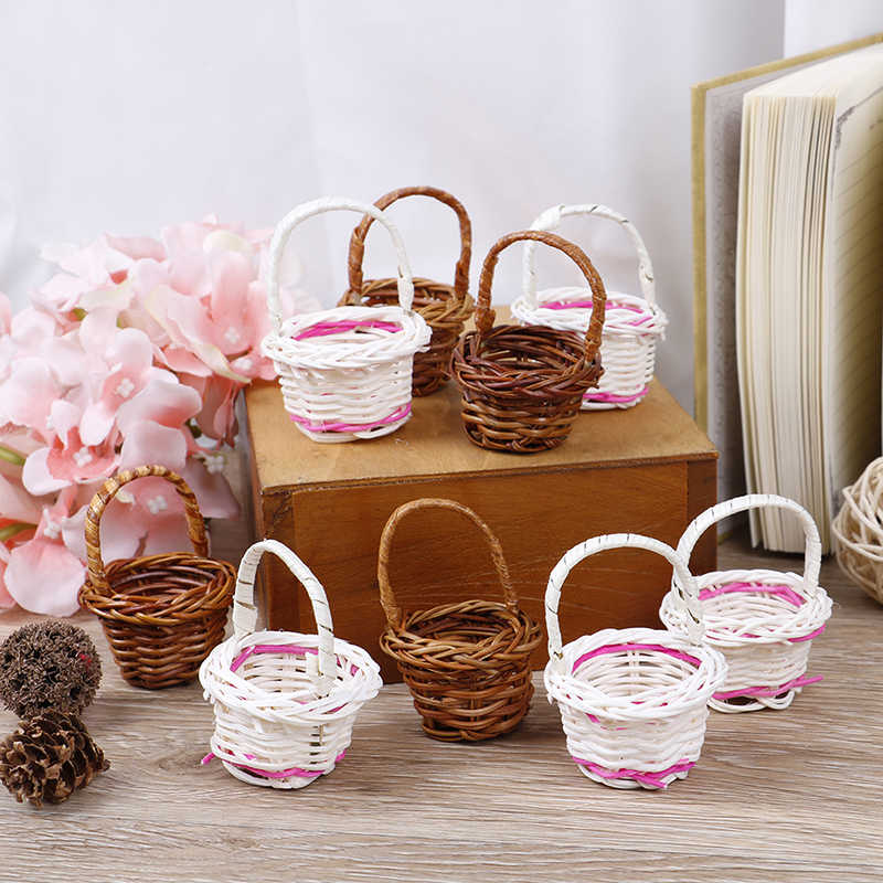 1 PC Mini Rattan Weaving Storage Basket Fruit Rattan Storage Box For Cosmetics Tea Picnic Basket Organizer Home Party Decoration