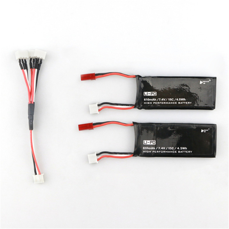 Hot New Hubsan H502S H502E RC Quadcopter Spare Parts 2PCS 7.4V 15C 610mAh Battery&amp; Charging Cable Set<br><br>Aliexpress