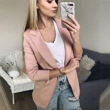 (Ship from US) 2018 Spring Slim Fit Women Formal Jackets Long Sleeve Blazer  Office Work Solid Ladies Blazer Coat Hot Sale Fashion 7402171bd118
