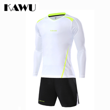 KAWU Custom Made 2017 football jerseys Set Men soccer tracksuit T Shirt + shorts  Long Sleeve Sportwear maillot de foot S17020