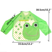 Hot  Hot New Children Baby Todders Waterproof Long Sleeve Art Smock Bibs Apron Cartoon 2016 Feeding Baberos Bavoir Clothing 2017