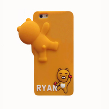 2017 3D Fashion cartoon monsters forest animals cute love bear big head lie soft silicone cell phones case For Iphone