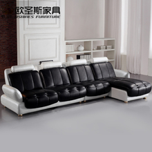 latest l shaped sofa designs black and white two color 2016 new model chesterfield italy modern leather sofa sets replica 629(China)