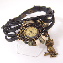 Vintage ladies fashion Quartz watch women Owl Pendant item hours Bead Bracelet wristwatch E6719(China)