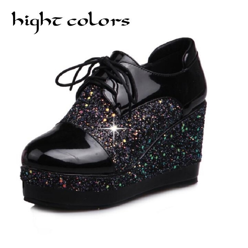 Women Creepers 2017 England Style Wedge High Heels Lace up Platform Shoes Woman Sequins Patchwork Wedges Student Womens Pumps<br>