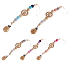 Buy 1 Set Baby Kids Wooden Beaded Pacifier Holder Clip Nipple Teether Dummy Strap Chain High for $2.55 in AliExpress store