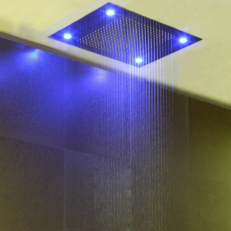 Bathroom Accessorise Shower Head Ceiling LED Light Big Rainfall Bath Shower Panel Faucet Polished 304 Stainless Steel Top Enjoy 3
