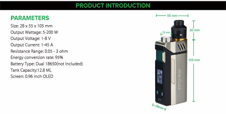 Original IJOY RDTA BOX Mod 0W +12.8ml Large e-juice Tank Atomizer & RDTA BOX MOD & IMC-3/IMC-Coil 3 Coils e-Cigarette 3