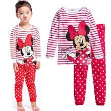 Childrens girls kids Clothing Sets Minnie Hello Kitty Suits 2 pcs Spring Autumn Sleepwear Cotton Long Sleeve cartoon pajamas Set