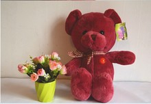 cute teddy bear toy dark red plush bear doll lovely teddy plush doll gift doll about 40cm