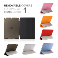2017 Hot Removable Cover PU Leather Tri-fold Ultra Thin Slime Smart Color Transparent Back Case for iPad Air 1(China)