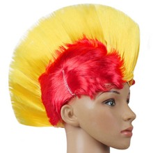 Nuevo diseño de luz led rainbow mohawk peluca fancy dress punk rocker de halloween traje del carnaval(China)