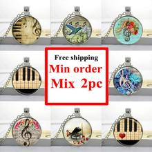Wholesale art glass necklace Music Pendant G-Clef Necklace Music Note necklace Jewelry Glass Dome Jewelry