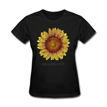 Costume Swirly Sunflower Shirt Women Shirts  Crewneck Women T-Shirt Design Womens T Shirts Fashion 2017
